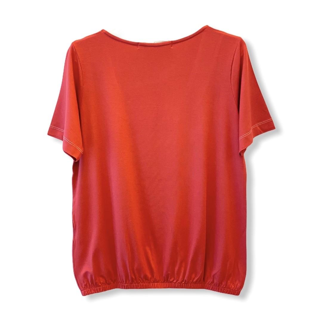 Blusa blusê pesponto decote goiaba  - Vivian Bógus