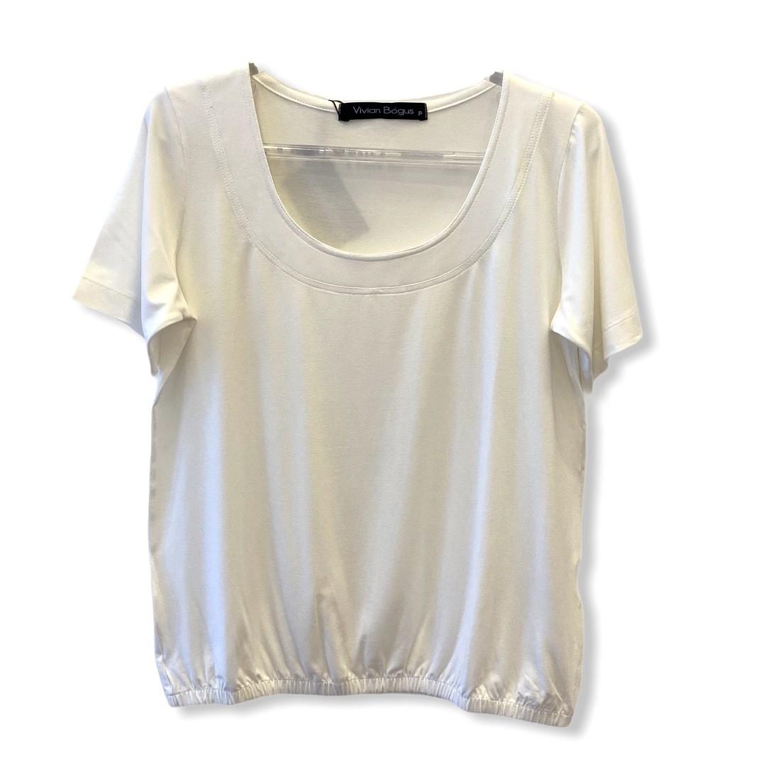 Blusa blusê pesponto decote off white  - Vivian Bógus