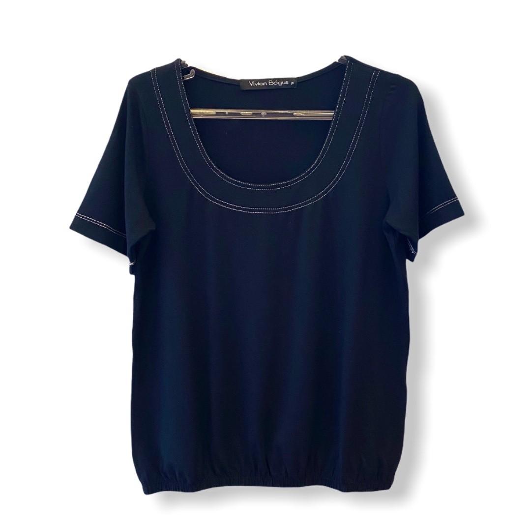 Blusa blusê pesponto decote preta  - Vivian Bógus