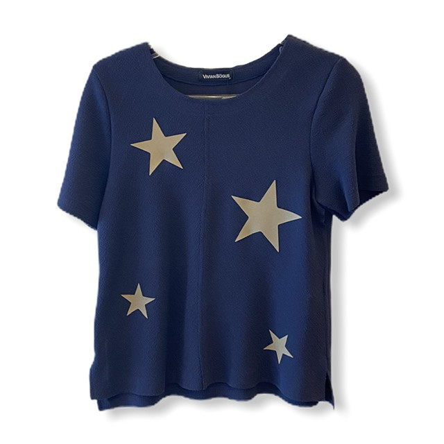 Blusa buclê marinho com estrelas  - Vivian Bógus