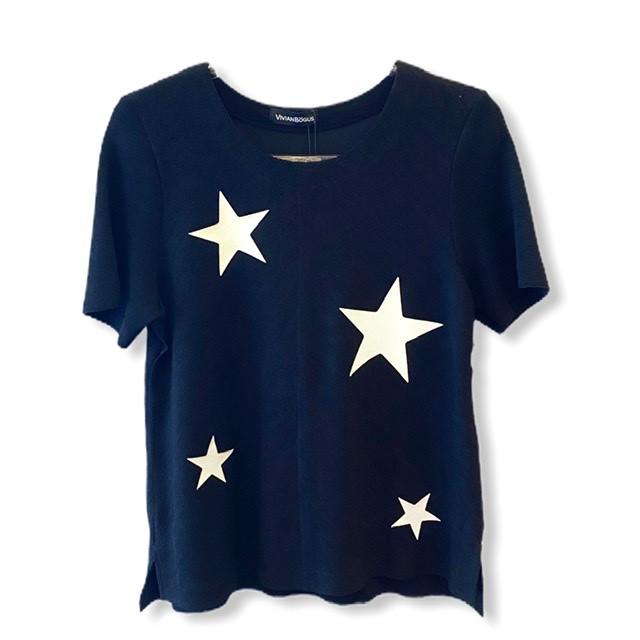 Blusa buclê preta com estrelas  - Vivian Bógus