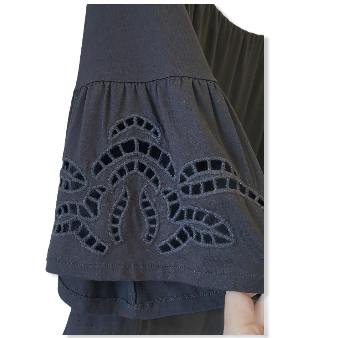 Blusa ciganinha preta manga bordada  - Vivian Bógus