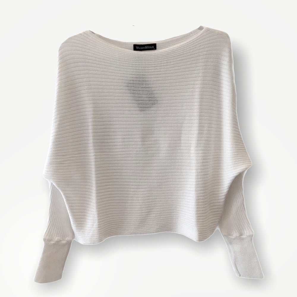 Blusa cropped canelada branca tricot  - Vivian Bógus
