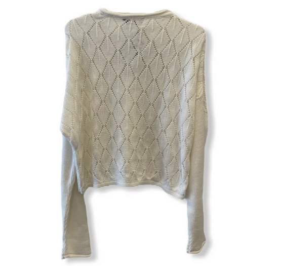 Blusa cropped off white tricot  - Vivian Bógus
