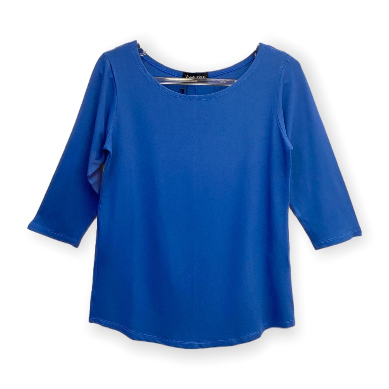 Blusa decote canoa manga 3/4 azul royal