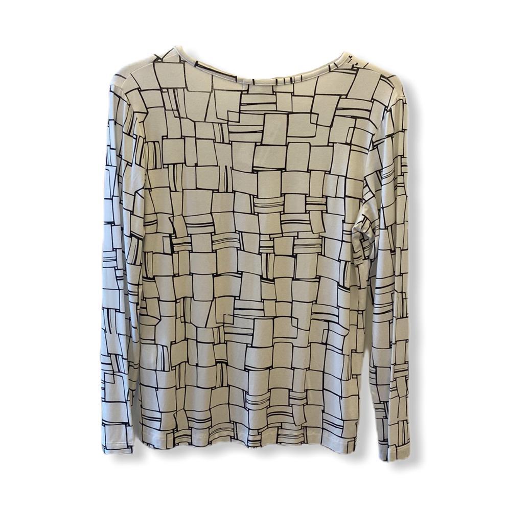 Blusa decote careca com vezinho off white estampada  - Vivian Bógus