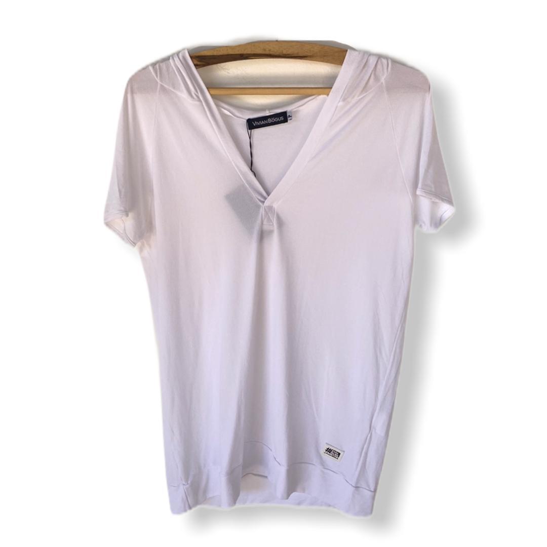 Blusa decote V com capuz  branca  - Vivian Bógus