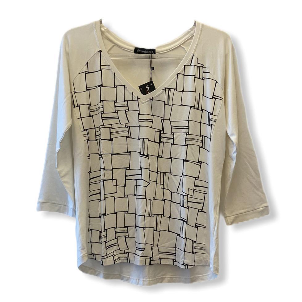 Blusa decote V manga raglan 3/4 branca estampa frente  - Vivian Bógus