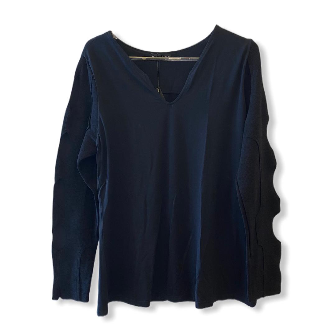 Blusa em malha com mangas em buclê (off white/preta)  - Vivian Bógus