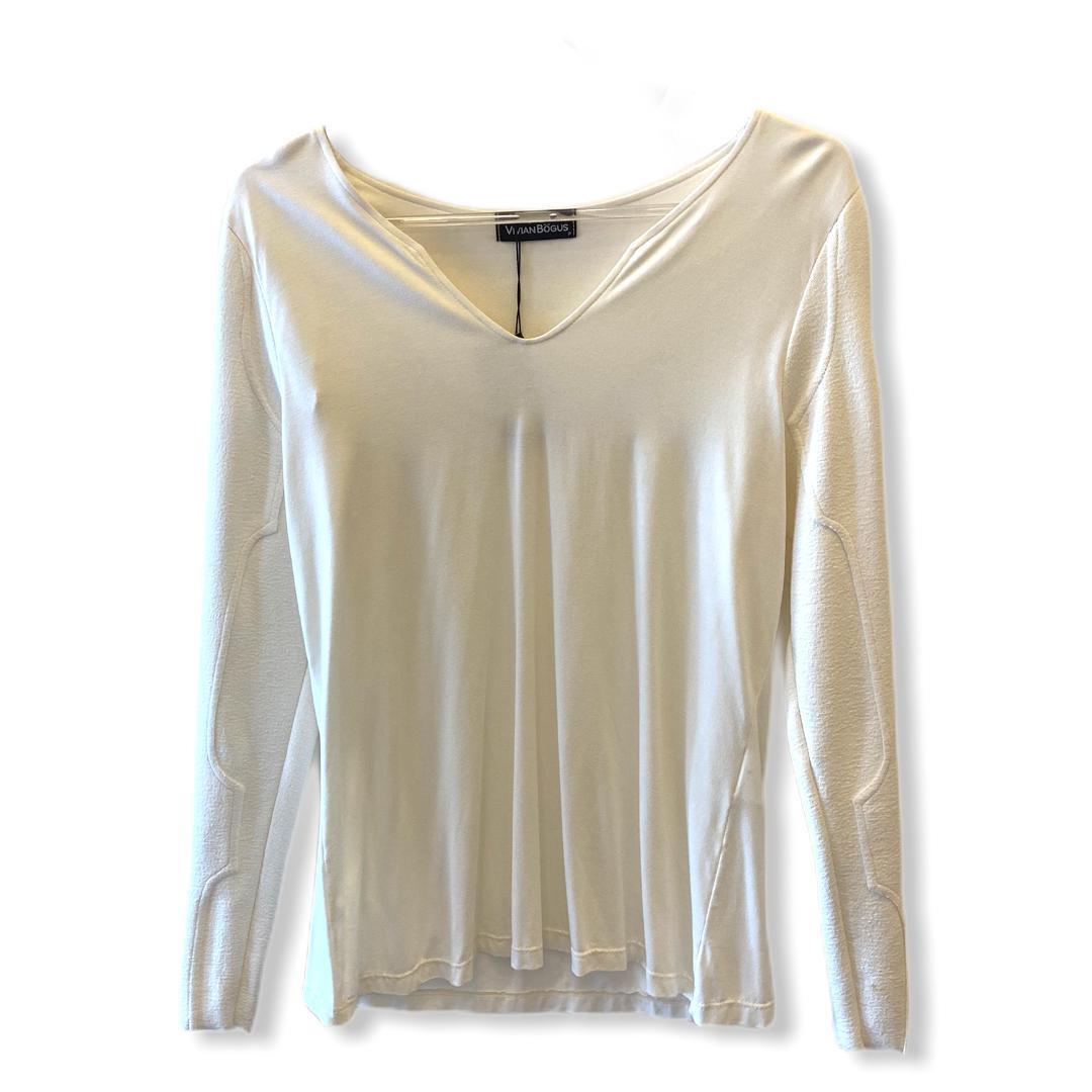 Blusa em malha com mangas em buclê off white