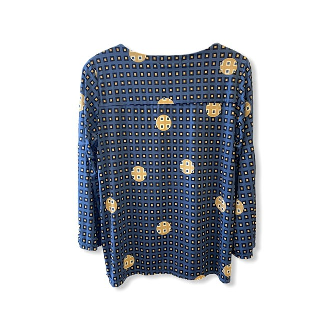 Blusa em malha fria estampada azul  - Vivian Bógus
