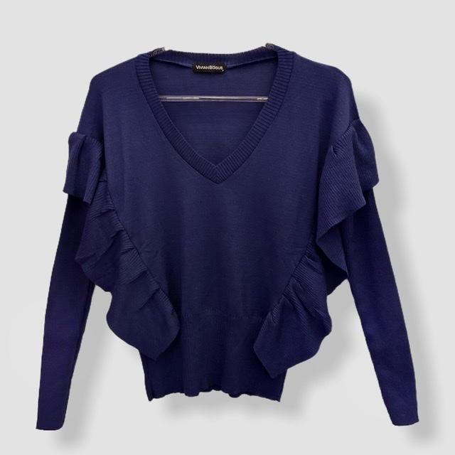 Blusa Etiene com babado azul  - Vivian Bógus