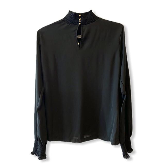 Blusa gola e punho lastex preta  - Vivian Bógus