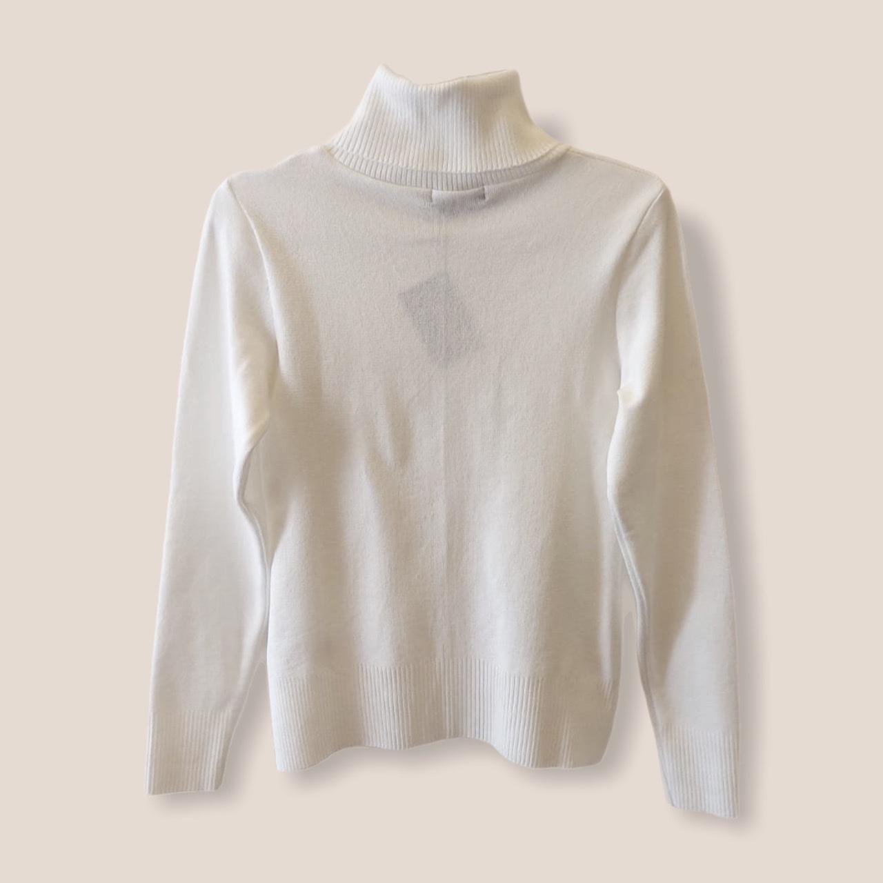 Blusa gola rolê branca tricot  - Vivian Bógus