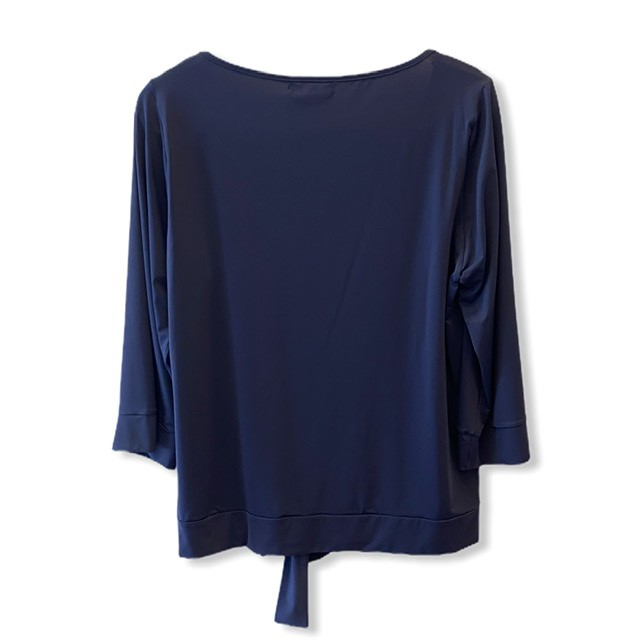 Blusa lacinho barra em malha fria marinho  - Vivian Bógus