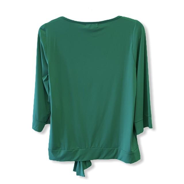 Blusa lacinho barra em malha fria verde  - Vivian Bógus