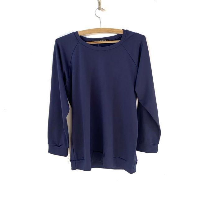 Blusa moletom piquet azul marinho  - Vivian Bógus