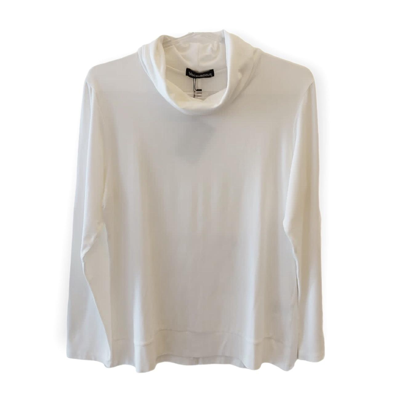 Blusa off white manga longa com gola