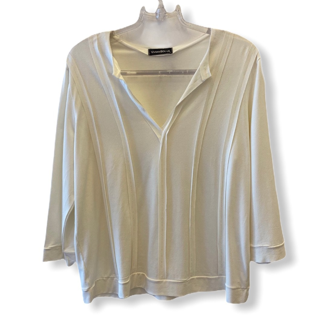 Blusa recortes off white  - Vivian Bógus
