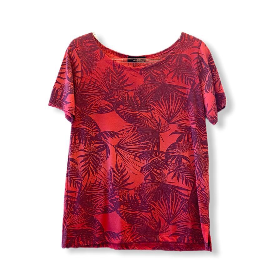 Blusa rosa estampa folhagem   - Vivian Bógus