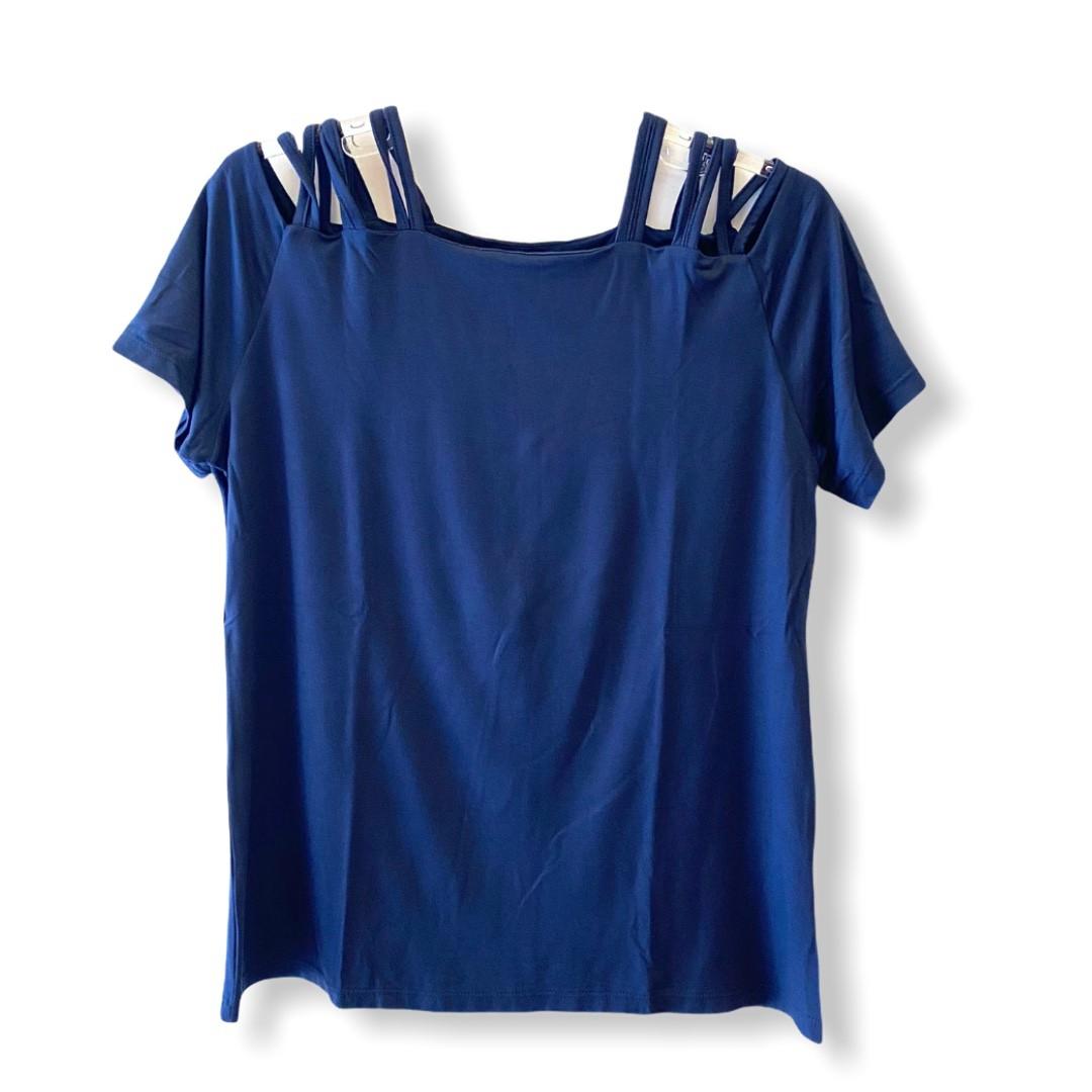 Blusa tirinhas ombro marinho  - Vivian Bógus