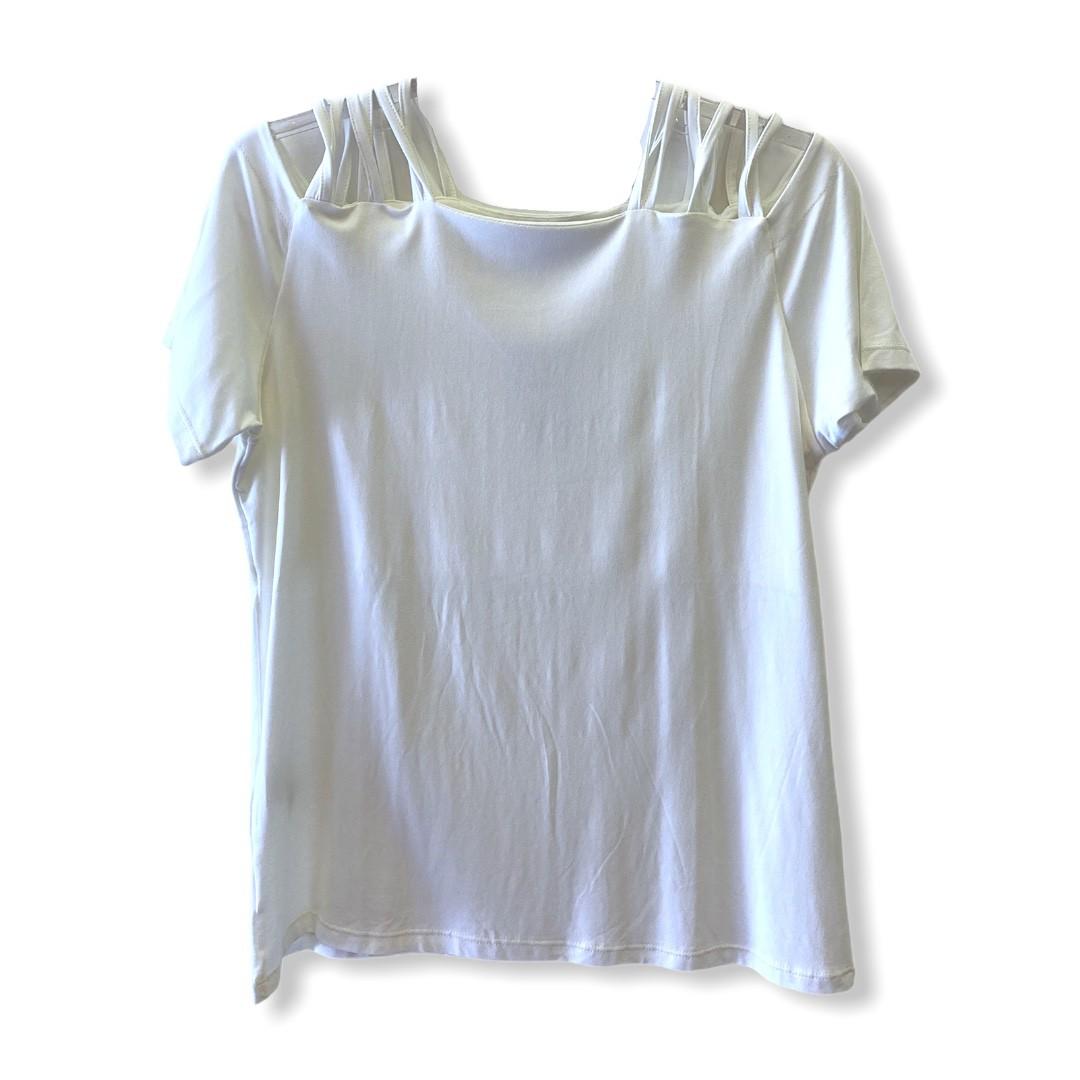 Blusa tirinhas ombro off white  - Vivian Bógus