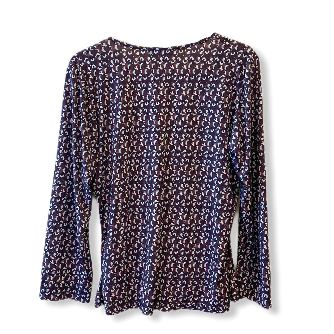 Blusa transpassada em malha fria estampada marrom  - Vivian Bógus