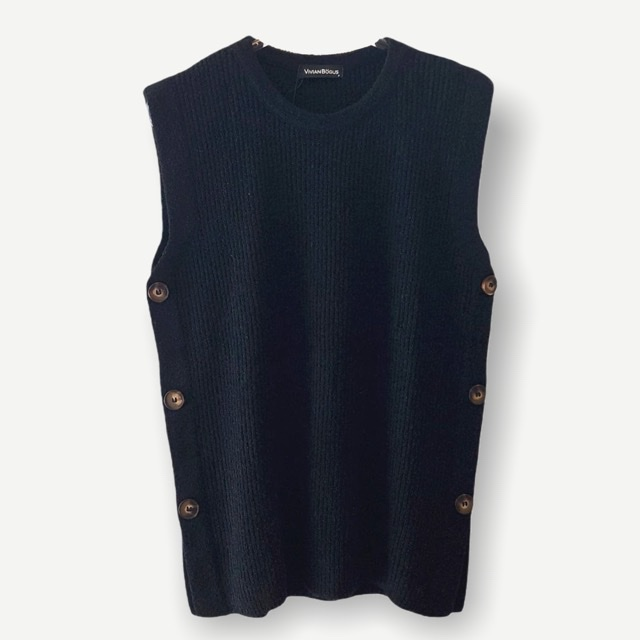 Colete Karina preto tricot    - Vivian Bógus