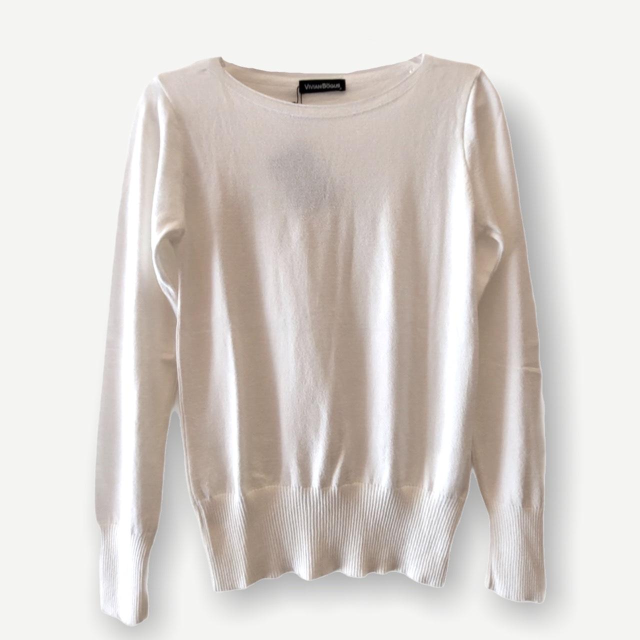 Blusa Luciana off white tricot   - Vivian Bógus