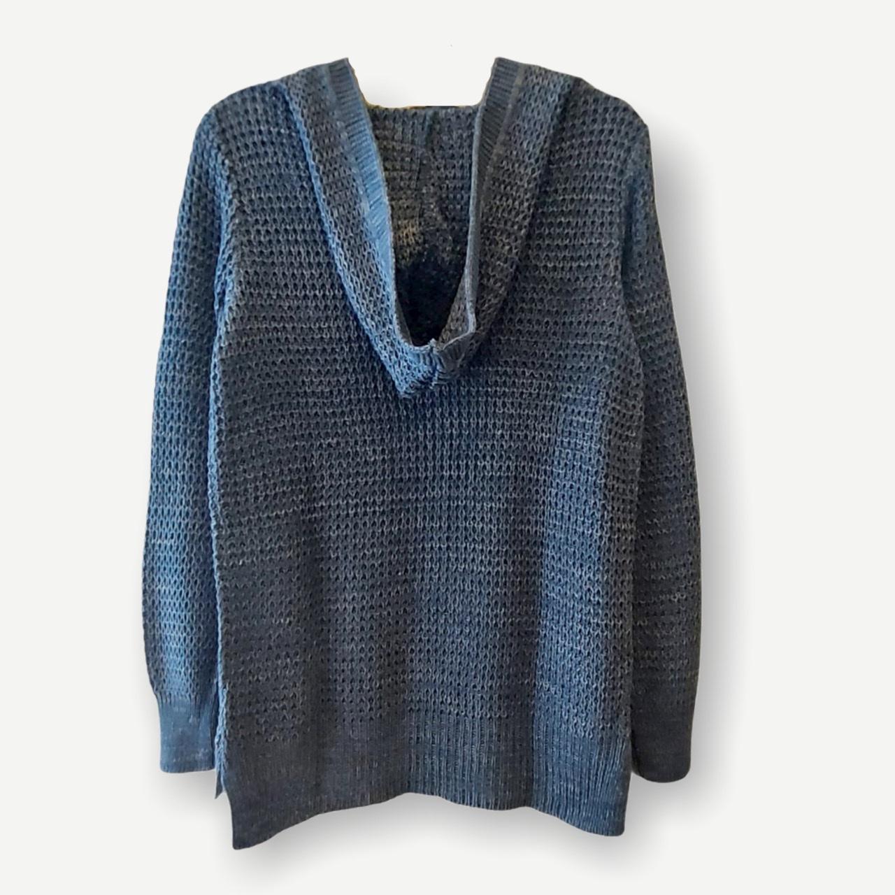 Blusa Bianca capuz e bolso azul tricot  - Vivian Bógus