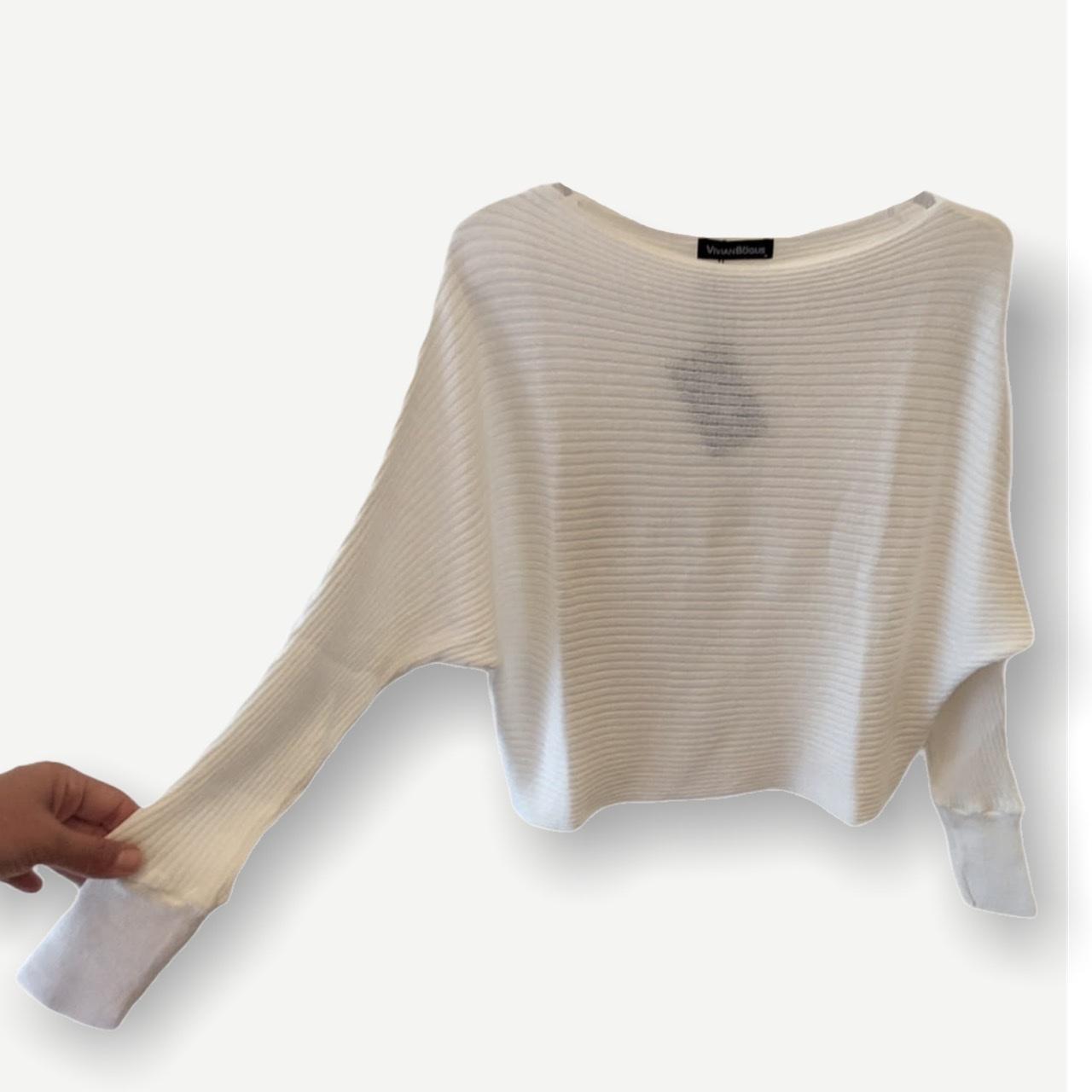 Blusa cropped canelada off white tricot  - Vivian Bógus