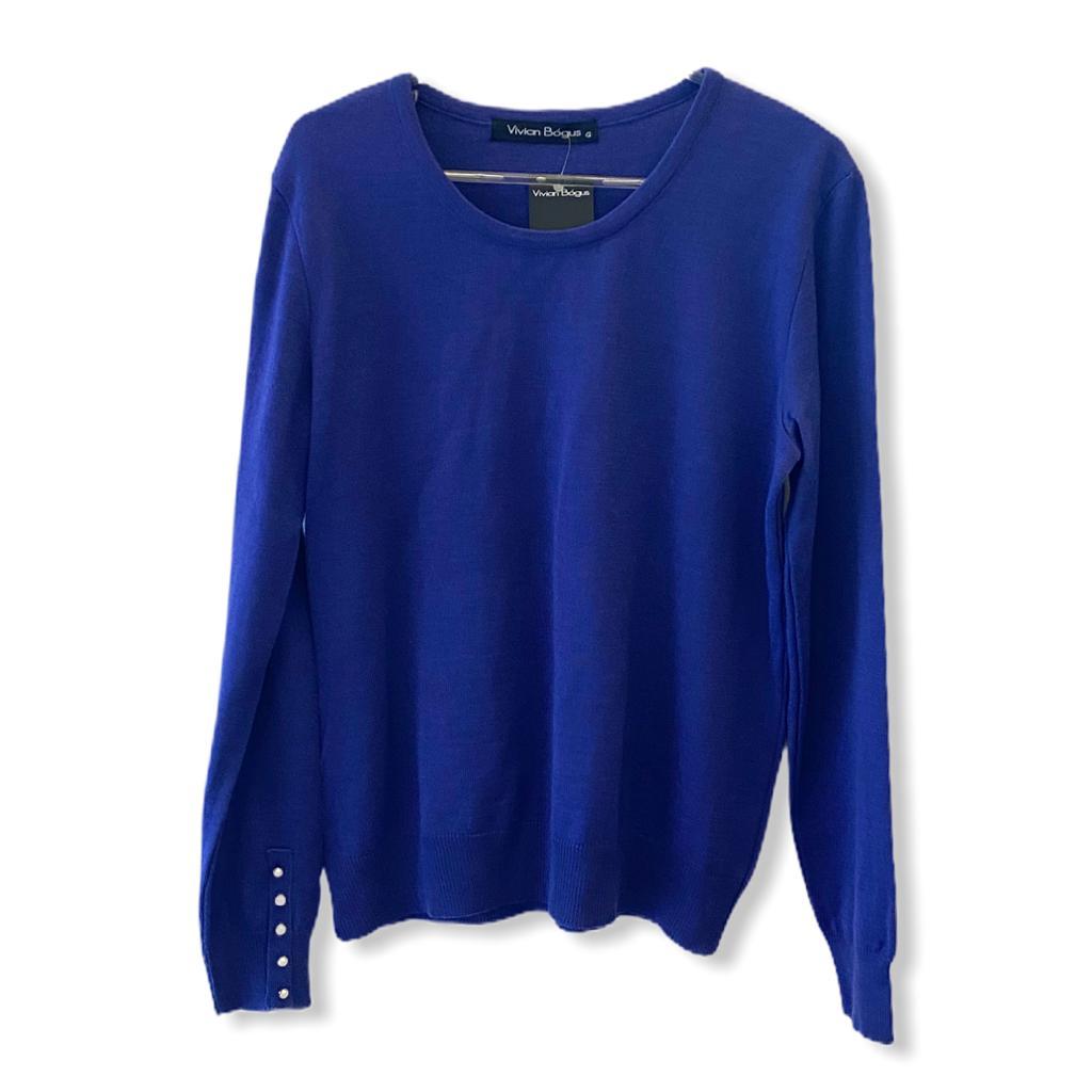 Malha tricô azul com detalhe pérolas nos punhos  - Vivian Bógus