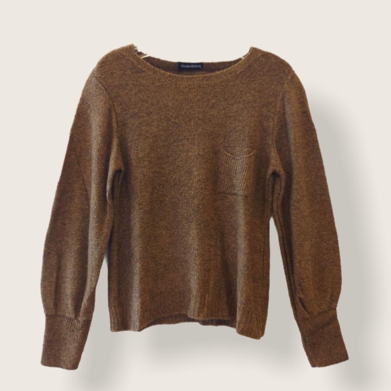 Blusa tricô bolsinho cor caramelo  - Vivian Bógus