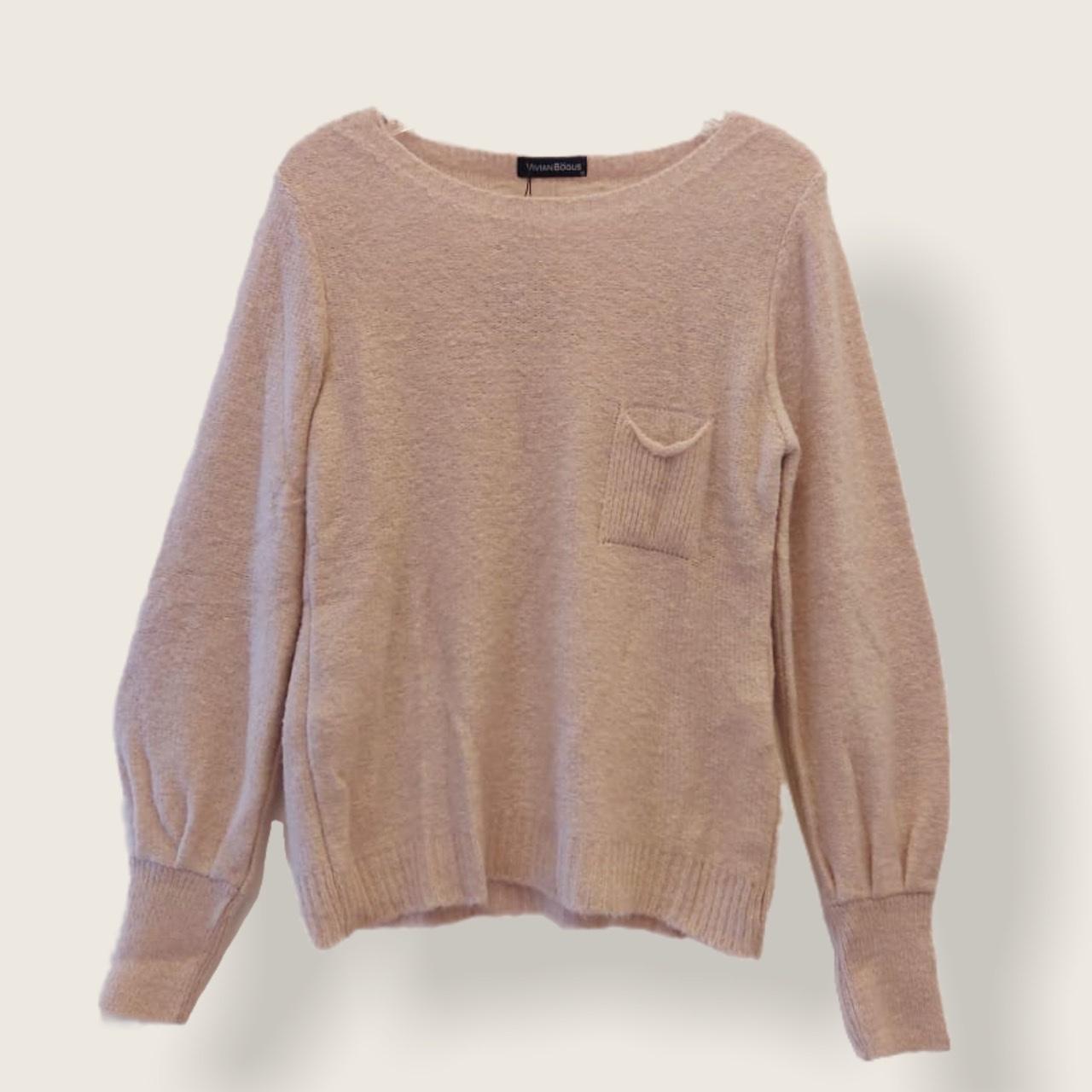 Blusa tricô bolsinho cor rosa claro  - Vivian Bógus