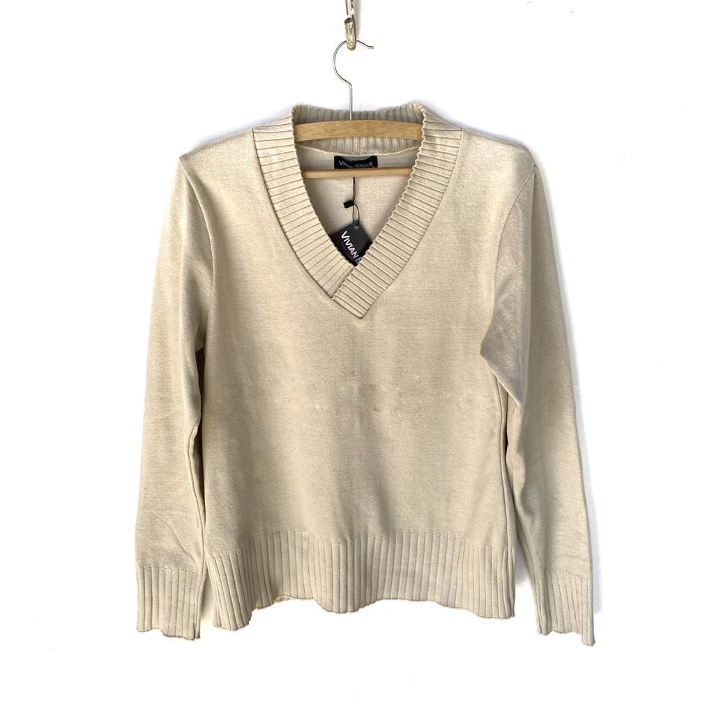 Blusa tricô decote V areia  - Vivian Bógus