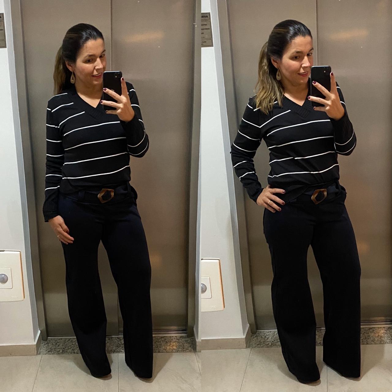 Blusa tricô decote V listrada PB  - Vivian Bógus