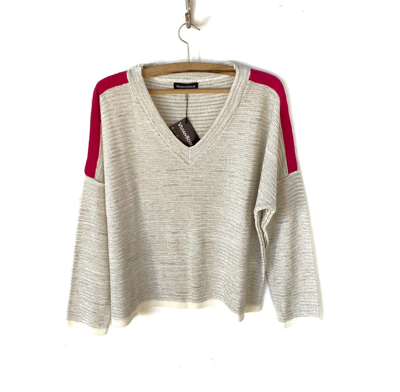 Blusa tricô faixa ombro  - Vivian Bógus