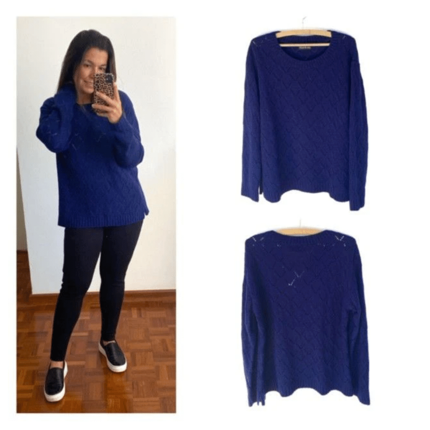 Malha tricô losangos preta / azul  - Vivian Bógus