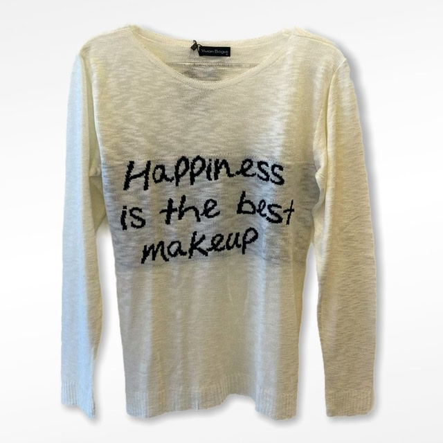 Blusa tricot happiness is the best makeup (cores)