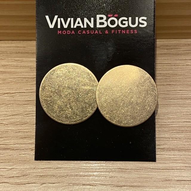 Brinco chapa bola dourada fosca  - Vivian Bógus