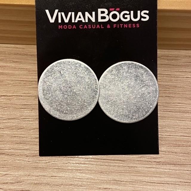 Brinco chapa bola prateada fosca  - Vivian Bógus