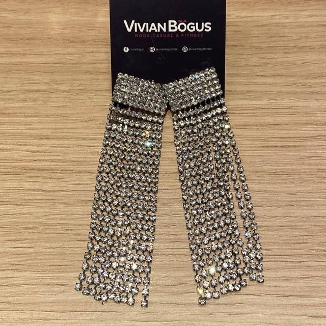 Brinco chuva de strass prateado  - Vivian Bógus