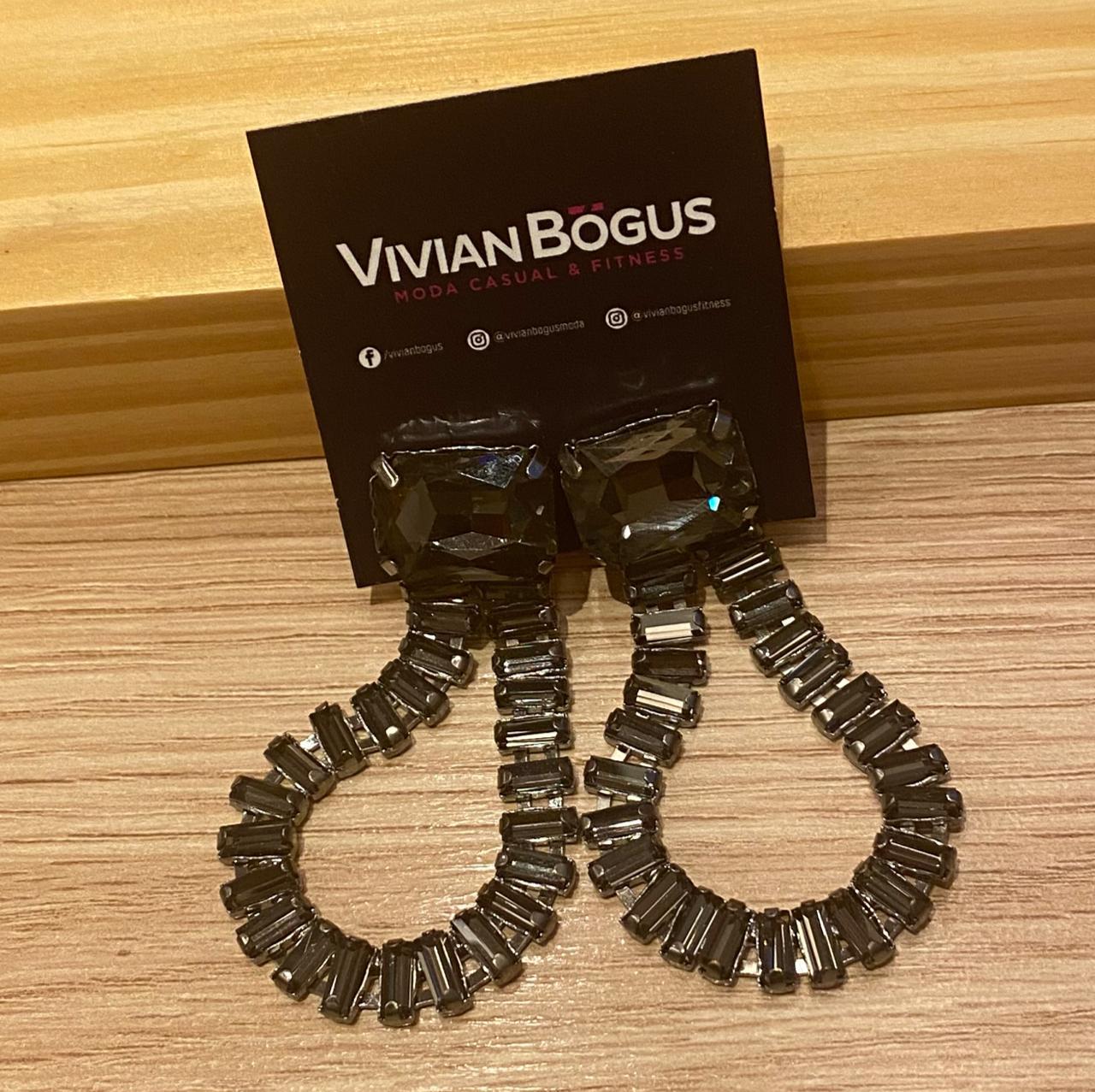 Brinco cristais fumê  - Vivian Bógus