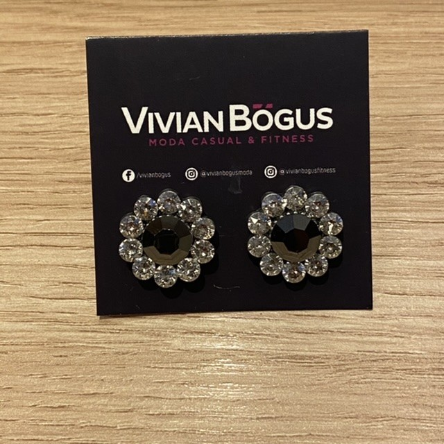 Brinco flor cristal cinza e tranparente  - Vivian Bógus
