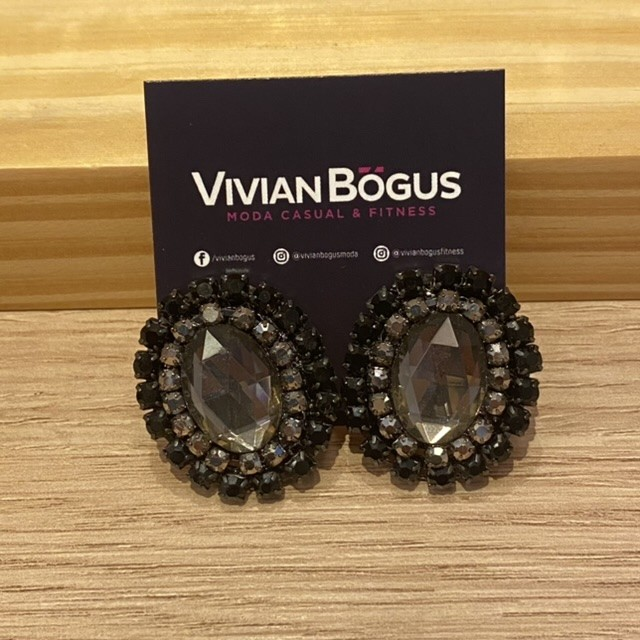 Brinco oval cristal fumê e strass  - Vivian Bógus