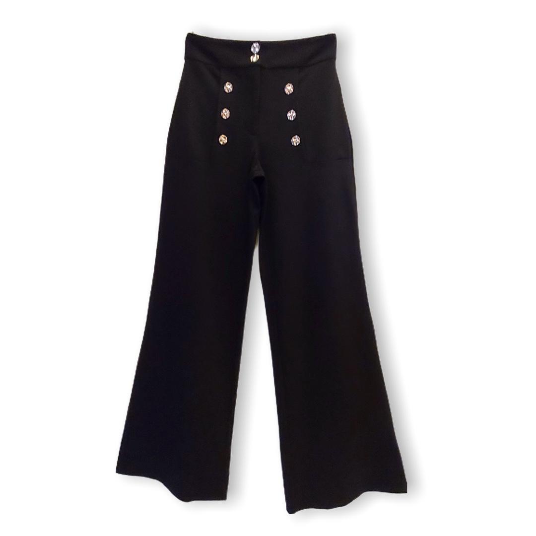 Calça Bia pantalona preta  - Vivian Bógus