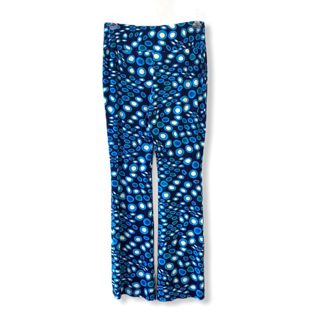 Calça em malha fria azul estampado  - Vivian Bógus