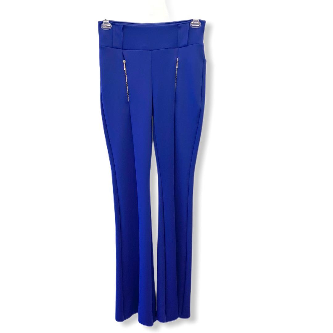 Calça Flare Neoprene Azul Bic  - Vivian Bógus