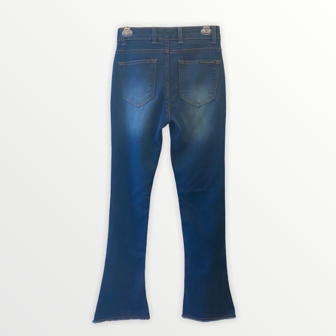 Calça Jeans de moletom Flare barra desfiada  - Vivian Bógus