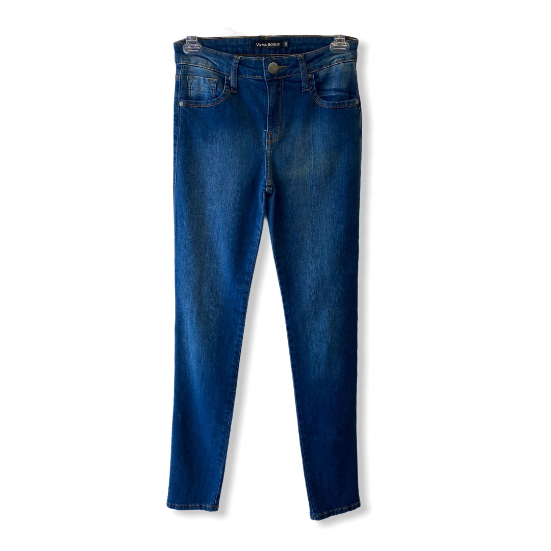 Calça Jeans Skinny blue jeans escuro  - Vivian Bógus